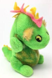 KNICKERBOCKER Animals of Distinction #8 GREEN DINOSAUR-Old Plush Stuffed-Vintage
