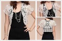 Women Short Sleeve Shrug Bolero Lace Wedding Bridal Cape Jacket