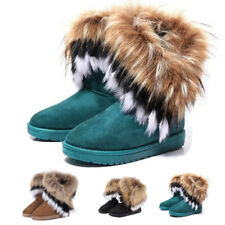 Womens Ladies Warm Fur Lined Snow Ankle Boots Faux Suede Mid-calf Flat Shoes New