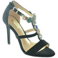 Sandalo nero alto donna gioiello con tacco a spillo linea luxury pietre frontali