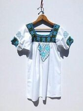 VINTAGE 90's MEXICAN TUNIC TOP......Cross Stitching EMBROIDERED Ethnic Blouse XS