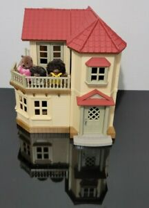 Epoch Sylvanian Family Calico Critters Red Roof Working Lights Townhome House +