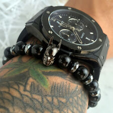 Charm Black Batman Bracelet Men 8mm Black Natural Onyx Round Male Bead Bracelets