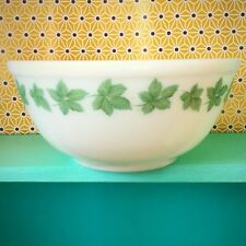 Vintage 1960's Phoenix Opalware Mixing Bowl; Green Leaves