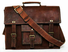 """Leather Vintage Sholder Case laptop satchel brown vintage bag 16"""" Broad genuine"""