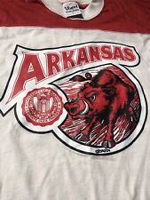 Vintage 1970s Arkansas Razorbacks T-Shirt Large L Carmen Cozza Red Roach