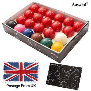 "2-1/16"" Red Pool Balls Full Size Regulation Snooker Billiard 22 Balls Set UK"