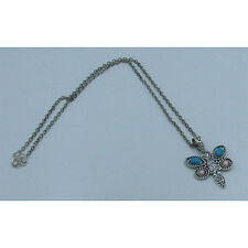 .925 Sterling Silver Natural Turquoise Pink Pearl  Dragonfly Chain Necklace