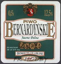 Poland Brewery Lublin Bernardyńskie Beer Label Bieretikett Cerveza lu60.2