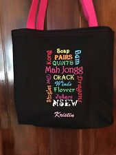 1 of a kind! Free personalizing Celebrate mah jong!  Very clever tote!