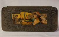 Antique Tin Art Nouveau Tea Caddy Vintage Metal Hinged Box