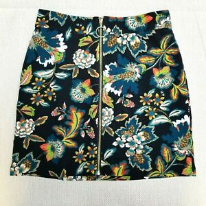 INC International Women's Size 6 Front Zip Pencil Skirt Boho Floral Stretch Mini