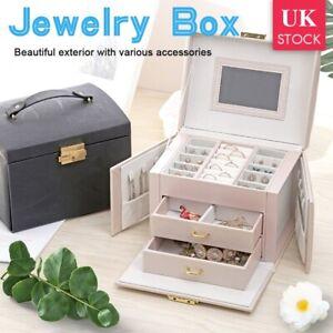 LARGE JEWELLERY BOX CABINET NECKLACE RING BRACELET ORGANIZER BOXES STORAGE CASE