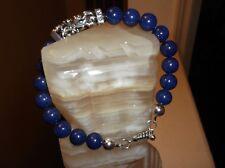 "Men's 9 1/2"" 10 mm Blue Lapis and Sterling Silver Beaded Bracelet"