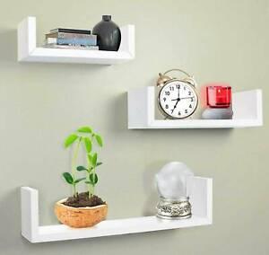 Set of 3 U Floating Shelves Wall Mounted Storage Display Shelf Kit