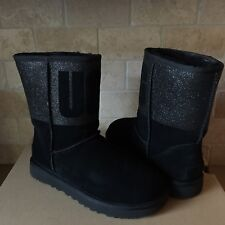 UGG Classic Short UGG Sparkle Graphic Logo Black Suede Fur Boots Size 12 Womens