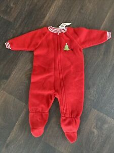 NWT OLD NAVY CHRISTMAS ONE PIECE BOYS BABY SLEEP 6-12 MONTHS PAJAMAS FOOTIE RED