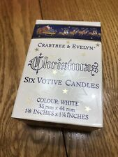 Vintage Crabtree & Evelynn Christmas 6 Votive Candles, White, Box of 6