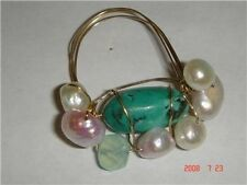 large turquoise stone pearl gold filled wire ring size 8/9