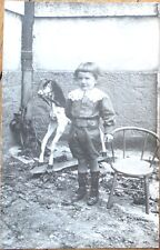 Rocking Horse/Toy 1910 Realphoto Postcard: Boy Posing, Chair