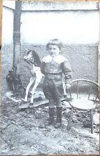 Rocking Horse/Toy 1910 Realphoto Postcard: Boy Posing, Chair