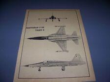 VINTAGE..NORTHROP F-5E TIGER II...3-VIEWS/DETAILS..RARE! (138B)