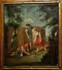 Grande huile sur toile XVIIIème - Jeux d'enfants - Tableau ancien
