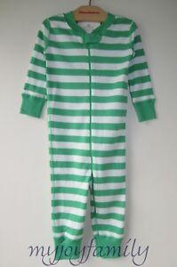HANNA ANDERSSON Baby Organic Zip Sleeper Happy Green Stripe 80 18-24 months NWT