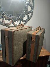 Set of 2 VTG Luggage Hartmann Tweed Leather Decor Briefcase Locked Suitcase