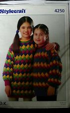 "Knitting pattern Ladies Girls jumper Sweater 3 1/4mm needles 22"" - 34"" Vintage"