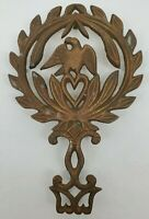 VINTAGE Brass Metal Footed Trivet  Eagle & Heart Heavy