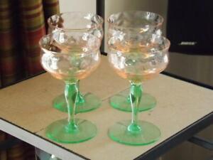 4 Tiffin Watermelon Pink & Green Sherbert Champagne Vaseline Depression Glasses