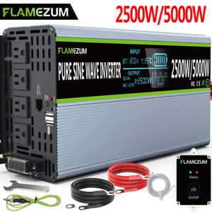 Solar Power Inverter Pure Sine Wave 2500W 5000W DC 12V To 120V AC Converter LCD