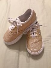 Gold Toddler Girls Glitter Vans Tennis Shoes Very Nice Size 8 8c Adorable Cute