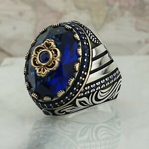 925 Sterling Silver Man Ring Blue Sapphire Gemstone Handmade Ottoman Size U 1/2