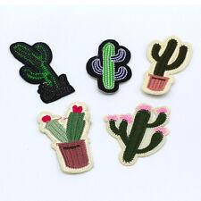 5PCS Cactus flower pot design Embroidery Iron on patches sewn applique DIY Motif