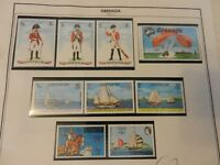 Lot of 9 Grenada Stamps 1973, Apollo 13, British Soldiers, Ships MNH