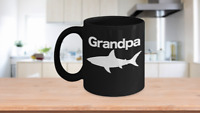 Grandpa Shark Mug Black Coffee Cup Funny Gift for Dad Papa Summer Camp