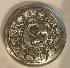 "1 Oz  MK BarZ ""Skully Treasure"" Stamped Round .999 Fine Silver"
