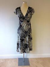 MONSOON BLACK & WHITE SILK & COTTON WRAP DRESS SIZE 8