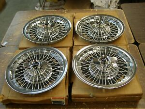"""NOS OEM Buick 1965 1966 1967 Riviera Wire Wheel Covers Spinner Hub Caps 15"""""""