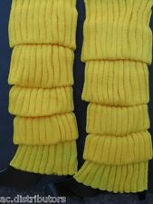 HOT YELLOW FAME 80s RETRO Ladies Leg Warmers Gr8 Fancy Dress Costume Accessory