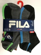 6 pairs Mens Fila Shock Dry Ankle Socks Black Shoe Size 6-12.5 NWT