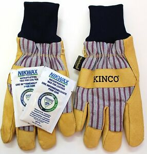 KINCO 1927KW Lined Grain Pigskin Work Gloves with Nikwax Waterproofing