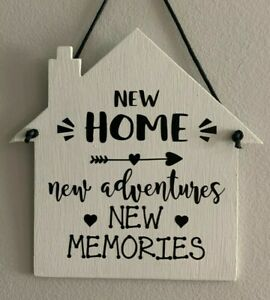 New Home New Adventures New Memories, wooden sign/hanger, moving in gift 15x15cm