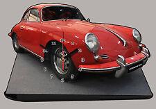 MODEL CARS, PORSCHE 356 -01, car passenger,11,8x 7,8 inches  with Clock