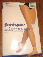 New BODY WRAPPERS WOMEN DANCE A33 White Footless Nylon TIGHTS sizes S/M or L/XL