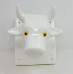 Vtg 80s Ceramic Bull Towel Apron Holder Himark Butcher Farmhouse Country kitchen