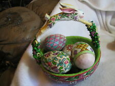 2005 Enesco Jim Shore Heartwood Creek Springtime Surprises Easter Basket + Eggs