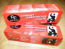 2x KOMINIARZ - CHIMNEY fireplace stove flue SWEEPER LOG SOOT cleaner   RED BOX